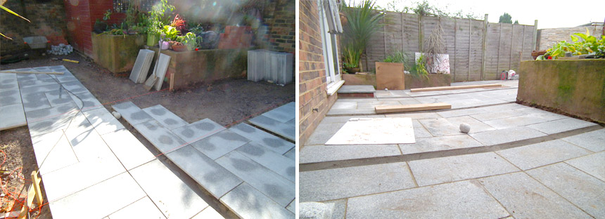 Granite patio being installed